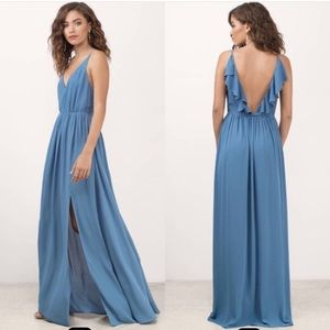 Blue ruffle back formal dress